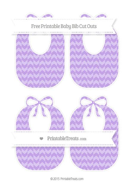 Free Pastel Purple Herringbone Pattern Medium Baby Bib Cut Outs