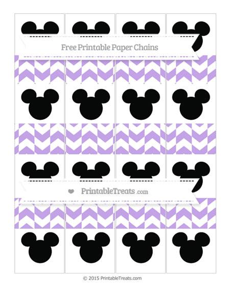 Free Pastel Purple Herringbone Pattern Mickey Mouse Paper Chains