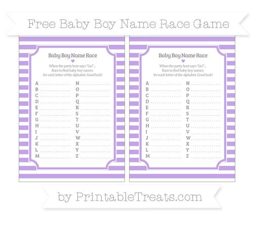 Free Pastel Purple Horizontal Striped Baby Boy Name Race Game