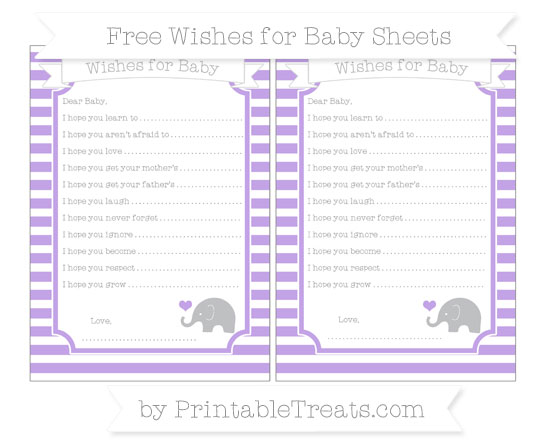 Free Pastel Purple Horizontal Striped Baby Elephant Wishes for Baby Sheets