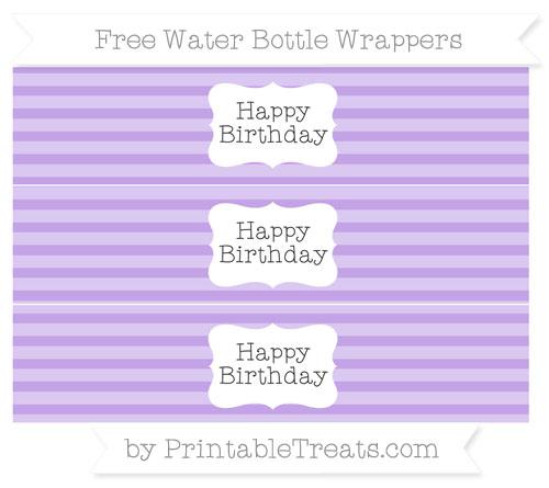 Free Pastel Purple Horizontal Striped Happy Birhtday Water Bottle Wrappers