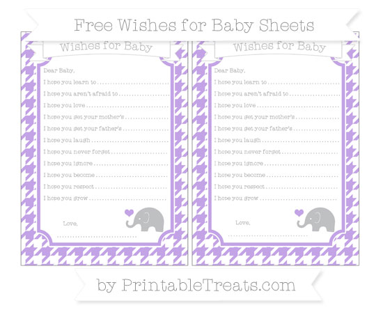 Free Pastel Purple Houndstooth Pattern Baby Elephant Wishes for Baby Sheets
