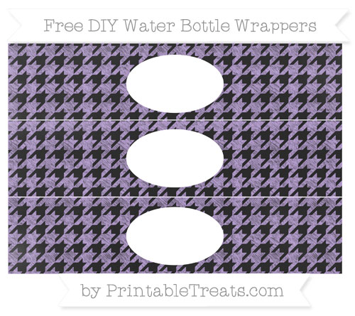 Free Pastel Purple Houndstooth Pattern Chalk Style DIY Water Bottle Wrappers