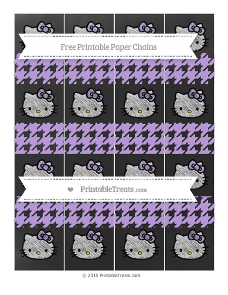 Free Pastel Purple Houndstooth Pattern Chalk Style Hello Kitty Paper Chains
