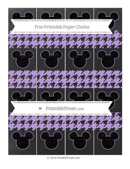 Free Pastel Purple Houndstooth Pattern Chalk Style Mickey Mouse Paper Chains