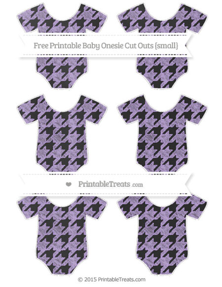 Free Pastel Purple Houndstooth Pattern Chalk Style Small Baby Onesie Cut Outs