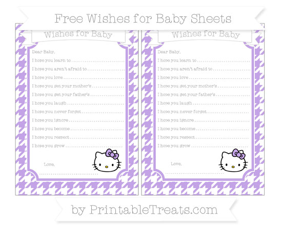 Free Pastel Purple Houndstooth Pattern Hello Kitty Wishes for Baby Sheets