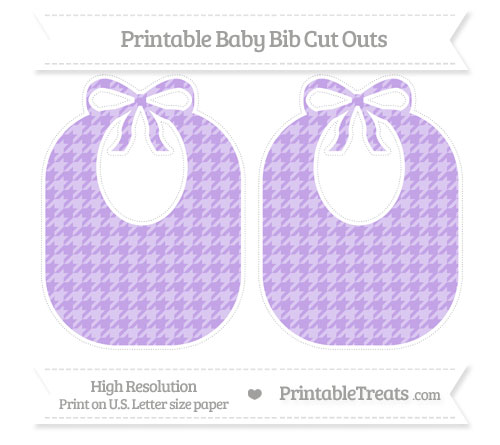 Free Pastel Purple Houndstooth Pattern Large Baby Bib Cut Outs