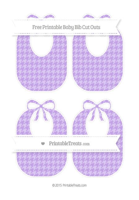 Free Pastel Purple Houndstooth Pattern Medium Baby Bib Cut Outs