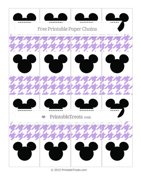Free Pastel Purple Houndstooth Pattern Mickey Mouse Paper Chains