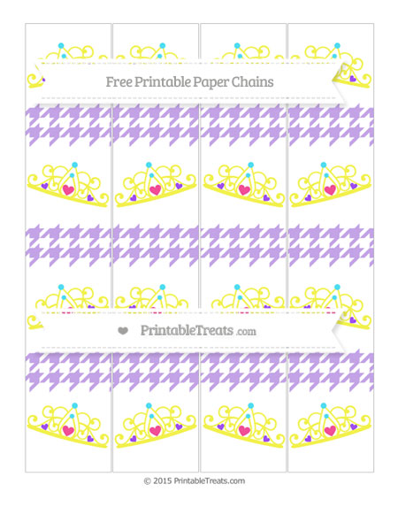 Free Pastel Purple Houndstooth Pattern Princess Tiara Paper Chains