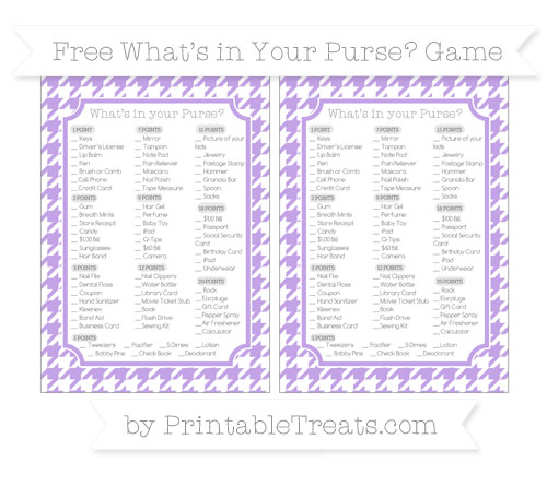 Free Pastel Purple Houndstooth Pattern What's in Your Purse Baby Shower Game