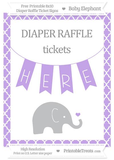 Free Pastel Purple Moroccan Tile Baby Elephant 8x10 Diaper Raffle Ticket Sign