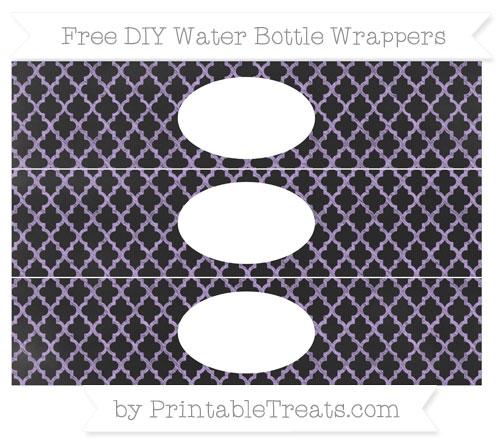 Free Pastel Purple Moroccan Tile Chalk Style DIY Water Bottle Wrappers