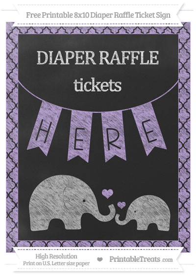 Free Pastel Purple Moroccan Tile Chalk Style Elephant 8x10 Diaper Raffle Ticket Sign