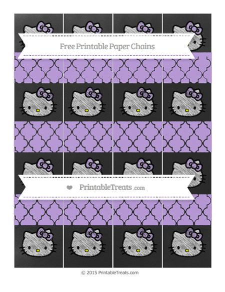 Free Pastel Purple Moroccan Tile Chalk Style Hello Kitty Paper Chains