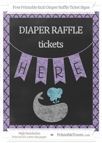 Free Pastel Purple Moroccan Tile Chalk Style Whale 8x10 Diaper Raffle Ticket Sign