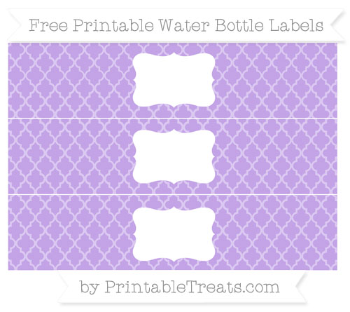 Free Pastel Purple Moroccan Tile Water Bottle Labels