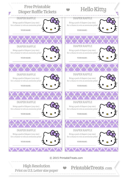 Free Pastel Purple Moroccan Tile Hello Kitty Diaper Raffle Tickets
