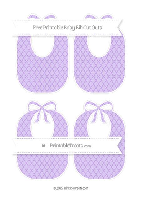 Free Pastel Purple Moroccan Tile Medium Baby Bib Cut Outs