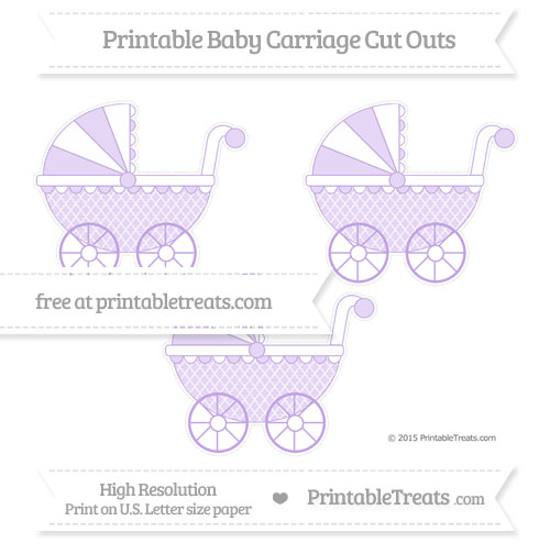 Free Pastel Purple Moroccan Tile Medium Baby Carriage Cut Outs