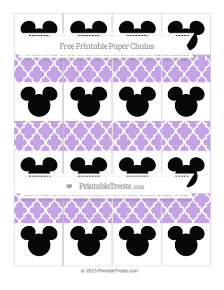 Free Pastel Purple Moroccan Tile Mickey Mouse Paper Chains