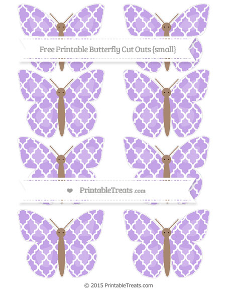 Free Pastel Purple Moroccan Tile Small Butterfly Cut Outs