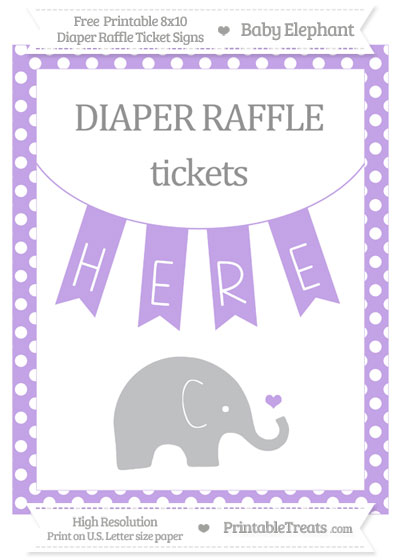 Free Pastel Purple Polka Dot Baby Elephant 8x10 Diaper Raffle Ticket Sign