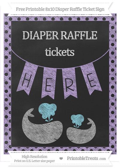 Free Pastel Purple Polka Dot Chalk Style Baby Whale 8x10 Diaper Raffle Ticket Sign