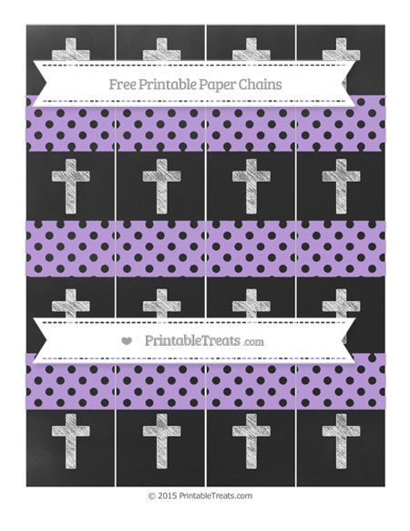 Free Pastel Purple Polka Dot Chalk Style Cross Paper Chains