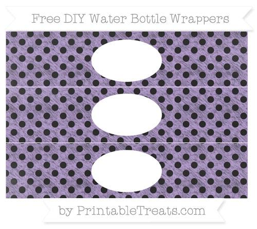 Free Pastel Purple Polka Dot Chalk Style DIY Water Bottle Wrappers