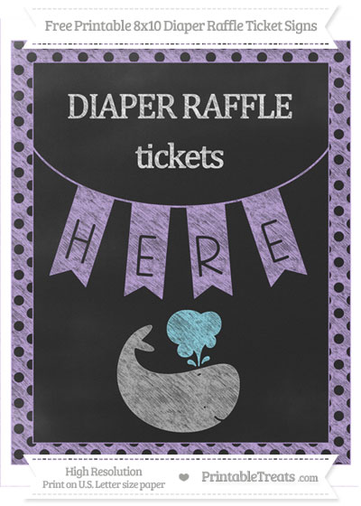 Free Pastel Purple Polka Dot Chalk Style Whale 8x10 Diaper Raffle Ticket Sign