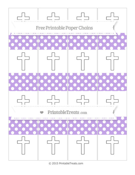 Free Pastel Purple Polka Dot Cross Paper Chains