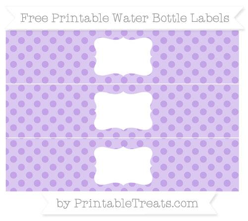 Free Pastel Purple Polka Dot Water Bottle Labels