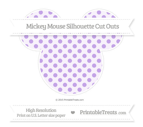 Free Pastel Purple Polka Dot Extra Large Mickey Mouse Silhouette Cut Outs