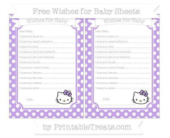 Free Pastel Purple Polka Dot Hello Kitty Wishes for Baby Sheets