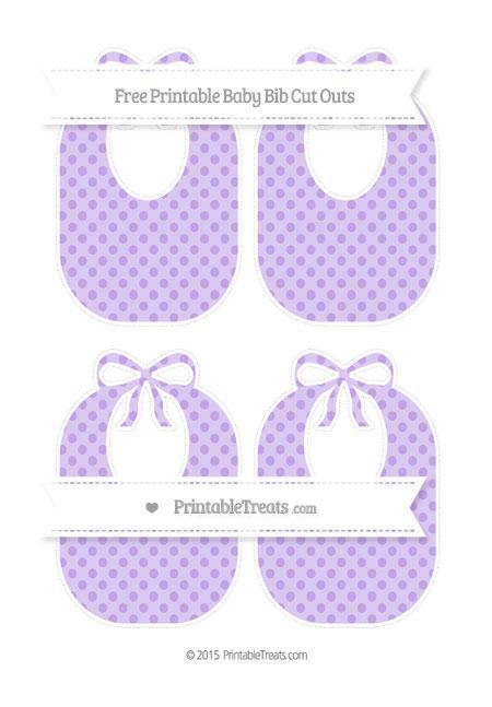 Free Pastel Purple Polka Dot Medium Baby Bib Cut Outs