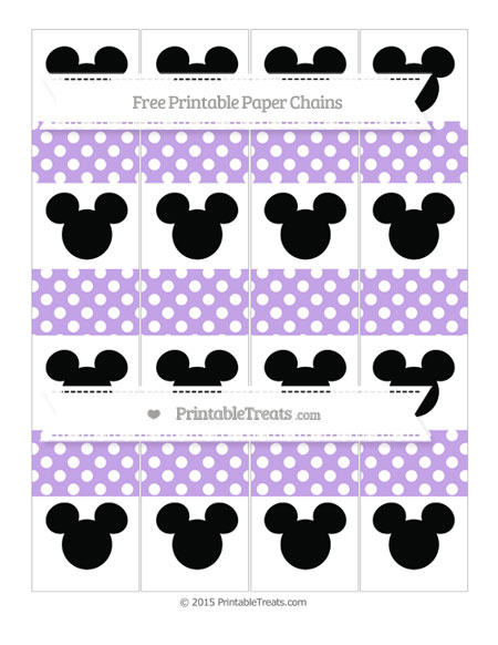 Free Pastel Purple Polka Dot Mickey Mouse Paper Chains