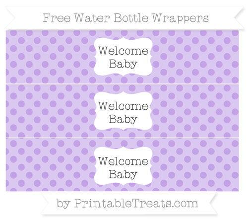 Free Pastel Purple Polka Dot Welcome Baby Water Bottle Wrappers