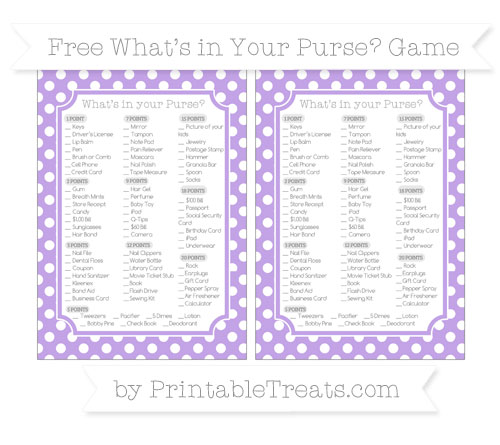 Free Pastel Purple Polka Dot What's in Your Purse Baby Shower Game