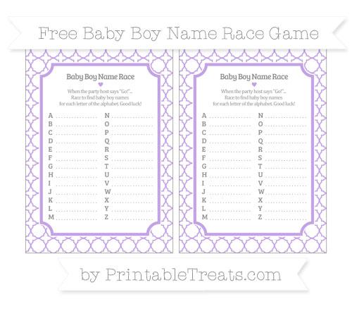 Free Pastel Purple Quatrefoil Pattern Baby Boy Name Race Game