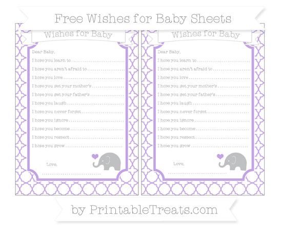 Free Pastel Purple Quatrefoil Pattern Baby Elephant Wishes for Baby Sheets