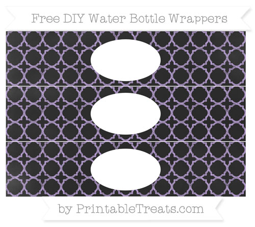 Free Pastel Purple Quatrefoil Pattern Chalk Style DIY Water Bottle Wrappers