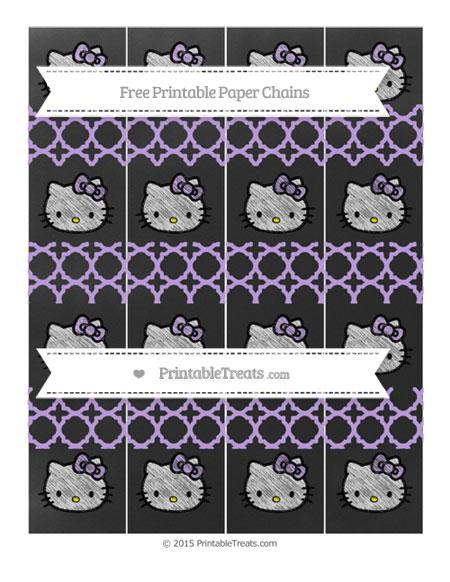 Free Pastel Purple Quatrefoil Pattern Chalk Style Hello Kitty Paper Chains