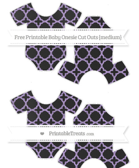 Free Pastel Purple Quatrefoil Pattern Chalk Style Medium Baby Onesie Cut Outs