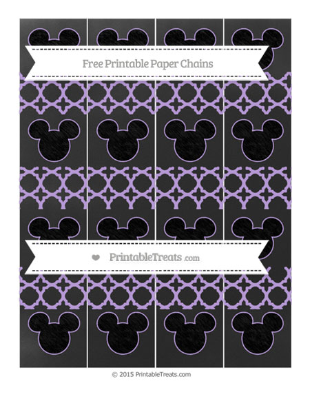 Free Pastel Purple Quatrefoil Pattern Chalk Style Mickey Mouse Paper Chains