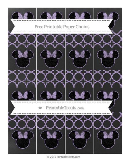 Free Pastel Purple Quatrefoil Pattern Chalk Style Minnie Mouse Paper Chains
