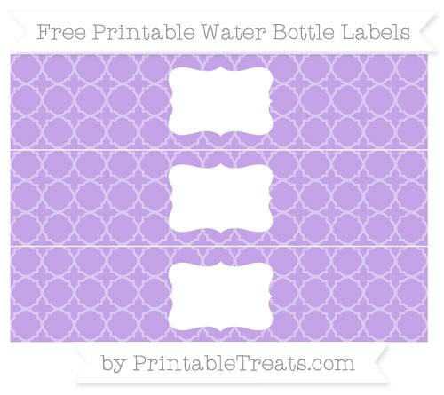 Free Pastel Purple Quatrefoil Pattern Water Bottle Labels
