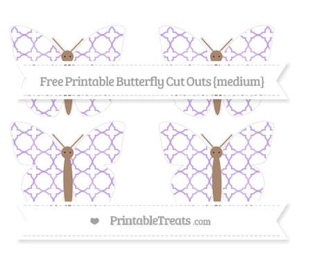 Free Pastel Purple Quatrefoil Pattern Medium Butterfly Cut Outs