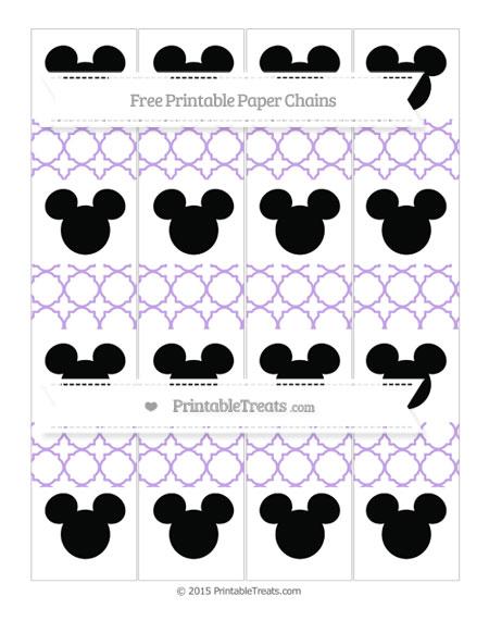 Free Pastel Purple Quatrefoil Pattern Mickey Mouse Paper Chains